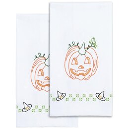 Jack Dempsey Stamped Decorative Hand Towel Pair - Halloween - 17in x 28in