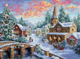 Dimensions Holiday Village Cross Stitch Kit - 41cm x 30cm