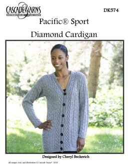 Diamond Cardigan in Cascade Yarns Pacific Sport - DK574 - Downloadable PDF