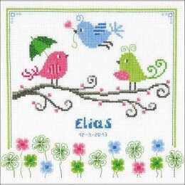 Vervaco Colourful Birds Birth Sampler Cross Stitch Kit - Multi