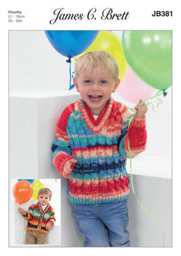 Cardigan and Sweater in James C. Brett Party Time Chunky - JB381 - Leaflet