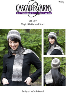 Magic Rib Hat & Scarf in Cascade Eco Duo - W246