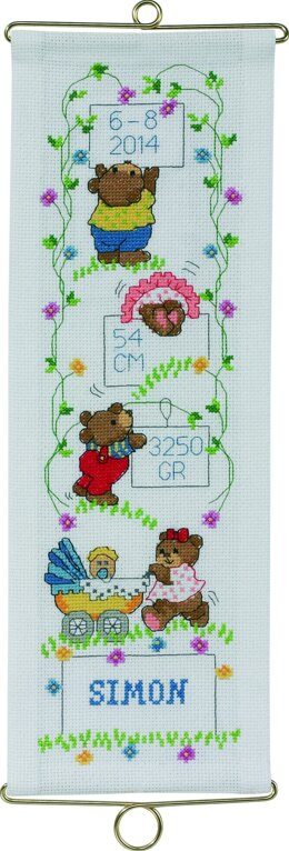 Permin Teddy Bears Boys Birth Bellpull Cross Stitch Kit - Multi