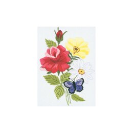 Janlynn Embroidery Kit 5in x 7in - Butterfly & Floral-Stitched In Floss