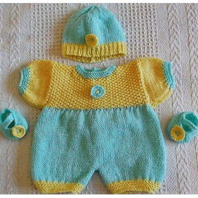 Springtime romper set for doll or tiny baby