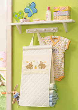 Made with Love - Cute Bunny Hanging Nappy Stacker in Anchor - Downloadable PDF