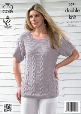 Womens' Cable Cardigan and Top in King Cole Bamboo Cotton DK - 3691