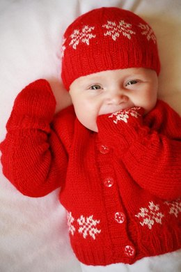 Little Snowflake (Cardigan, Hat, and Mitts)