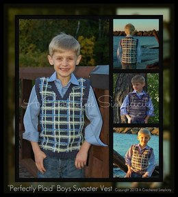 """Perfectly Plaid or Plain"" Young Boys Sweater Vest"