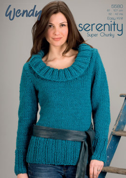 Cowl Neck Sweater in Wendy Serenity Super Chunky - 5580