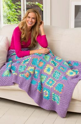 Cheerful Granny Square Throw in Red Heart Gumdrop and Soft - LW3848