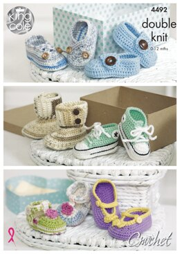 Crocheted Baby Shoes in King Cole DK - 4492 - Downloadable PDF