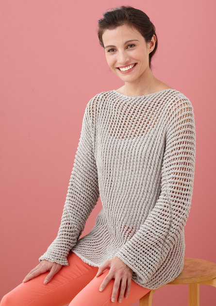 Diagonal Mesh Pullover In Lion Brand Cotton Ease L10330