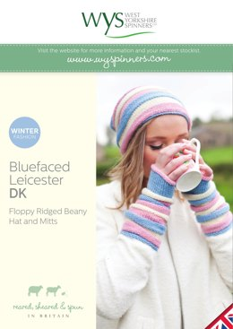 Floppy Ridged Beany Hat & Mitts in West Yorkshire Spinners Bluefaced Leicester DK