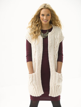 Cabled Topper With Pockets in Lion Brand Wool-Ease Thick & Quick - L30251