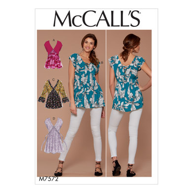 McCall's Misses' V-Neck, Gathered Tops with Sleeve and Tie Variations M7572 - Sewing Pattern