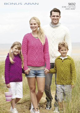 Family Jumpers in Hayfield Bonus Aran with Wool - 9692