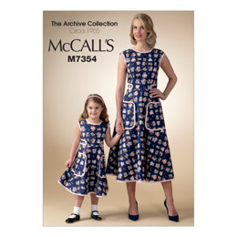 McCall's Misses'/Children's/Girls' Matching Back-Wrap Dresses M7354 - Sewing Pattern