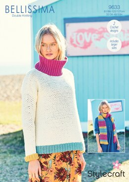 Crochet Moss Stitch Sweater & Shell Stitch Scarf in Stylecraft Bellissima - 9633 - Downloadable PDF