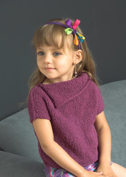 Girl's Split Collar Short Sleeve Top in Plymouth Yarn Daisy - 2640 - Downloadable PDF