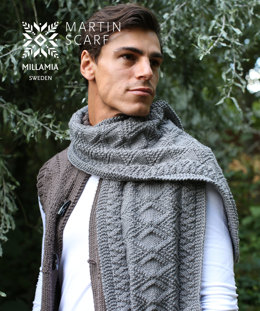 Martin Scarf in MillaMia Naturally Soft Aran - Downloadable PDF