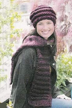 Knitted Scarf & Hat in Lion Brand Wool-Ease Thick & Quick