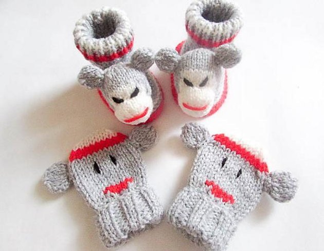 Knitting Patterns Sock Yarn Mittens : Sock Monkey Baby Booties and Mittens Knitting pattern by ...