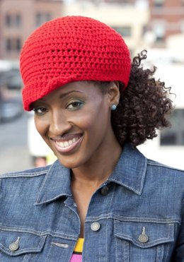 Ponytail Hat in Red Heart Super Saver Economy Solids - LW2406
