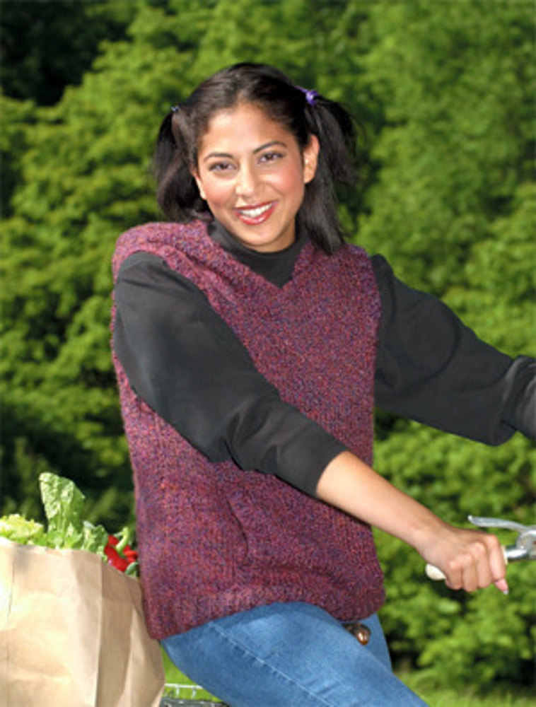 Knitted Hooded Sleeveless Pullover In Lion Brand Homespun
