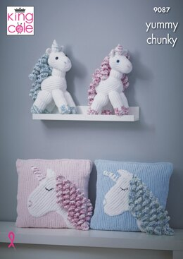 Unicorn & Cushion in King Cole Yummy - 9087 - Downloadable PDF