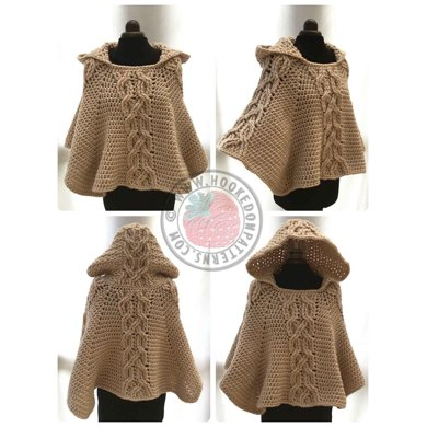 Milena Twist Cable Hooded Poncho Crochet pattern by Hooked on Patterns