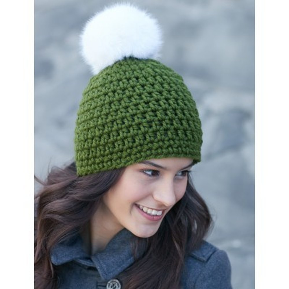 Quick Pompom Hat In Bernat Softee Chunky And Faux Fur Pompom