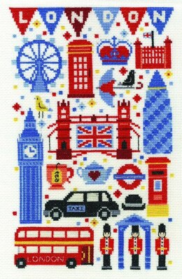 DMC London Attractions 14 Count Cross Stitch Kit - 17.8cm x 28cm