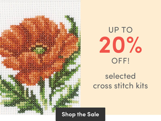 Up to 20 percent off selected cross stitch kits