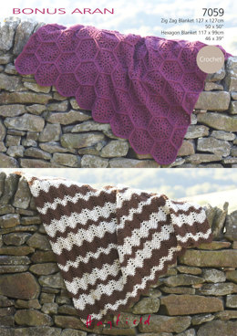 Afghan Blankets in Hayfield Bonus Aran with Wool - 7059 - Downloadable PDF