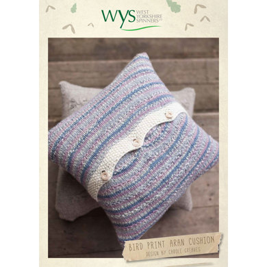Bird Print Aran Cushion In West Yorkshire Spinners Bluefaced
