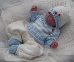 Pattern #46 - Striped Sweater, Long Trousers, Beanie Hat, Bootees for Baby Boy or Reborn Doll
