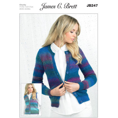 Ladies' Cardigan and Waistcoat in James C. Brett Marble Chunky - JB247