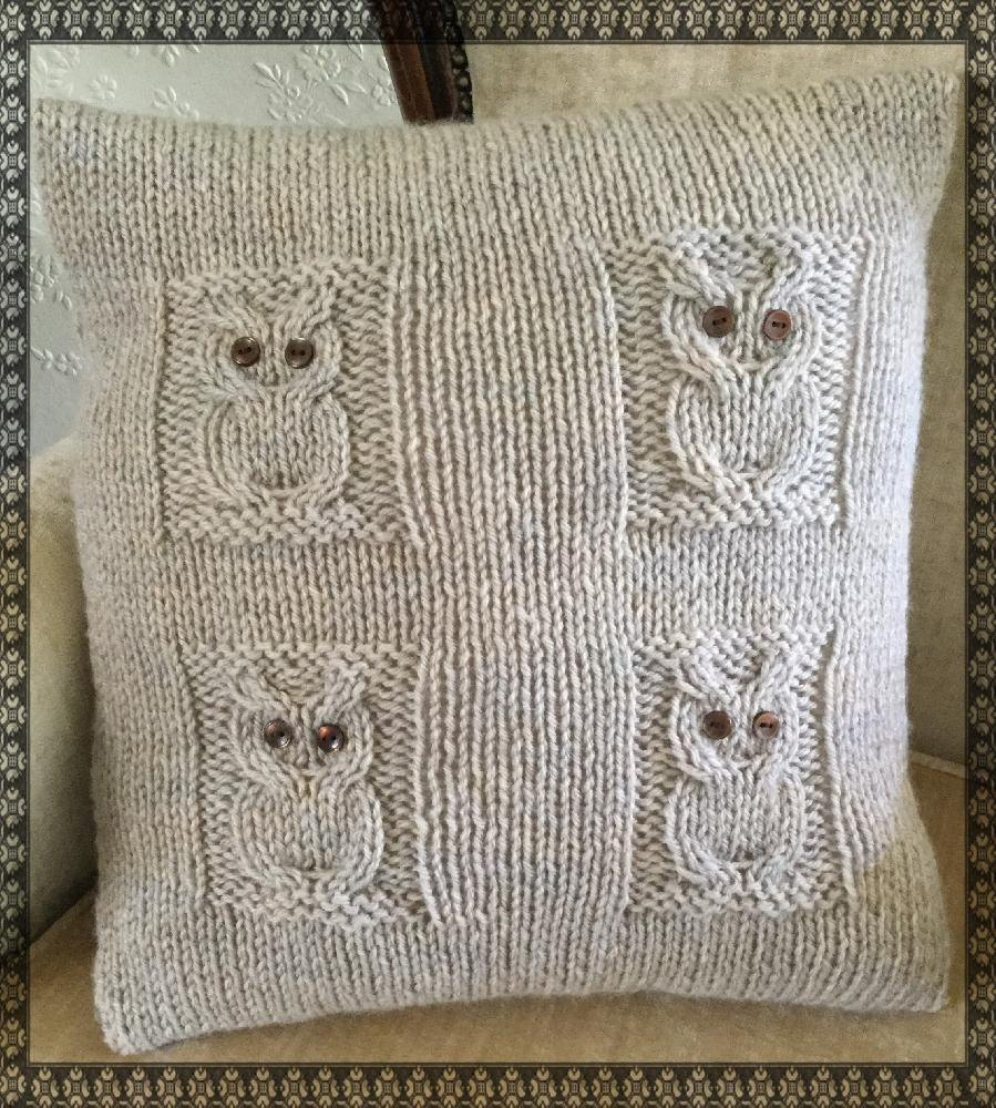 Owl Cushion Knitting Pattern : 4 Owls Cushion Knitting pattern by The Lonely Sea