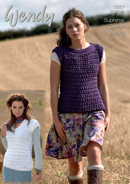Lady's Slash and V Neck Sweaters in Wendy Cotton Chunky - 5661