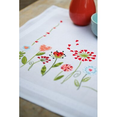 Vervaco Flowers Table Runner Embroidery Kit - 40 x 100