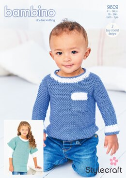 Crochet Woven Sweater and Tunic in Stylecraft Bambino DK - 9609 - Downloadable PDF