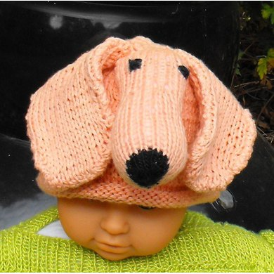 Baby Big Ears Sausage Dog Beanie Hat Knitting Pattern By