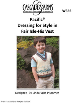 Dressing for Style in Fair Isle His Vest in Cascade Pacific - W356