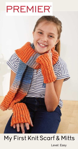 My First Knit Scarf and Mitts in Premier Yarns Colorfusion Chunky - Downloadable PDF