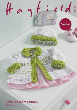 Baby Girl's Jacket and Hat in Hayfield Baby Blossom Chunky & Baby Chunky - 5233 - Downloadable PDF