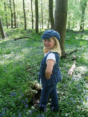 """Bluebell"" Waistcoat with Baker Boy Cap and Posy Bag"