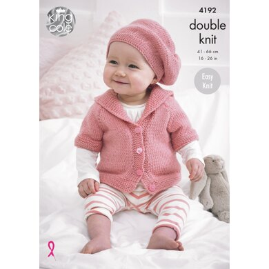 Babies Cardigans and Beret in King Cole Cherish & Cherished DK - 4192 - Downloadable PDF