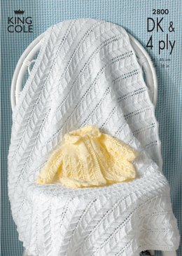 Matinee Jacket and Shawl in King Cole Comfort Baby DK & King Cole Comfort 4 Ply - 2800