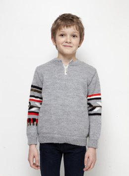 Boys Round Neck Zip Sweater in Bergere de France Barisienne - 60508-452 - Downloadable PDF